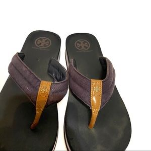 Tory Burch Shoes - Tory Burch Frankie Wedge Sandal in Blue, Size 8.